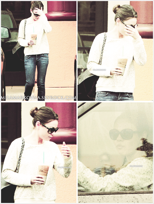 10 juin 2011 : Mila sortait d'un Starbucks Coffee dans Studio City.