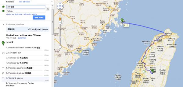 Aller du japon à  Taiwan .... A la nage