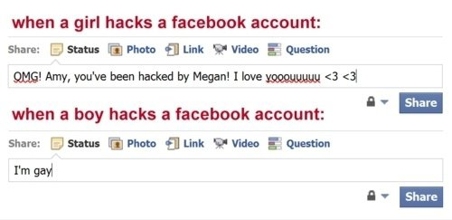 Différence de piratage sur facebook