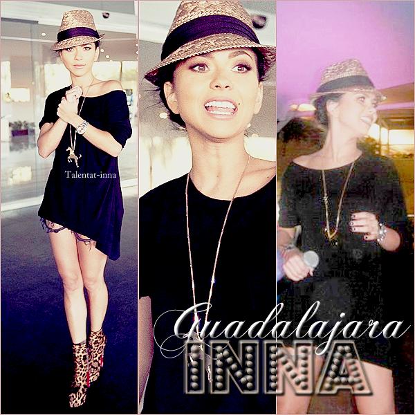 → INNA @ Guadalajara                                                                    INNA en concert @ Calle2 à Guadalajara au Mexique pour une nouvelle date de sa tournée ! J'aime énormément sa tenue à l'aéroport ! et pour vous, TOP ou FLOP ??