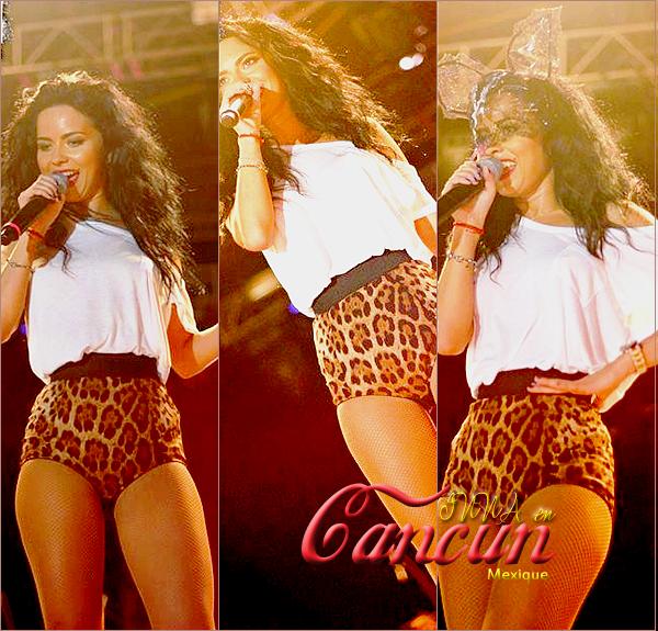 → INNA en Cancun♥                                      pour son avant dernier concert, INNA était à Cancun au Mexique toujours, un concert au bord de la plage avec toujours autant d'ambiance ! [La qualité des photos est à chier je vous l'accorde..]