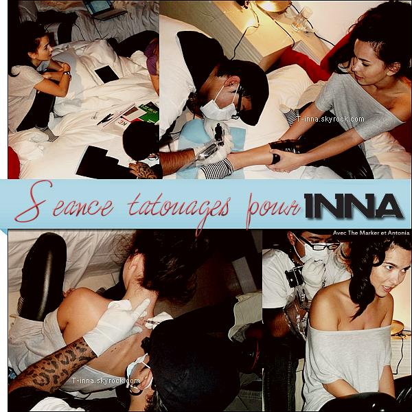 ☼ Le 28 septembre était un jour très important pour INNA ! Elle s'est fait faire deux tatouages en compagnie des The Marker et d'Antonia qui on fait eux aussi des tatouages. Elle a fait faire une carte AS de coeur, et une note de musique. Vous aimez ? Perso je n'aime pas la carte, mais j'aime la note !