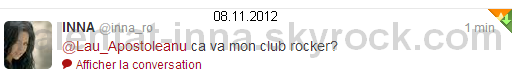 """► Petit article sur les dernières photos postées sur facebook et Twitter [la première avec un message de INNA """" I love being on stage...and I love you, #ClubRockers! """" ( J'aime être sur scène... et je vous aime, #ClubRockers! ) , la deuxième lors d'un show à Ibiza """" I miss Ibiza """" ( Ibiza me manque ) , et la 3ème pour un """"appel aux dons"""" si on peut dire ça comme ça """" O initiativa pe care o sustin!  Va rog si pe voi sa nu ramaneti indiferenti """" ( Une initiative demandée ! S'il vous plait ne restez pas indifférents ) - je ne suis pas sure de la traduction, je parle pas roumain à 100% -  ] + La version chipmunks de """" J'adore """" que je trouve excellente et bien faite ! + Mes tweets et mon retweet de INNA sur twitter avec mon compte personnel [ @Lau_Apostoleanu ] ainsi que la preuve qu'elle me suit, avec les dates dessus !"""