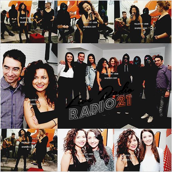 """▬ Live Radio ---------------------- • Le """"28 """"Octobre 2014, INNA s'est """"rendue """"dans les studios de la radio Radio"""" 21 """"en"""" Roumanie. """"Toujours"""" accompagnée """"des' """"artistes """"Dara, Antonia, """"et"""" Carla's Dreams, elle """"a"""" interprété """"les"""" titres """"Low"""", """"Fata din randul trei"""", """"P.O.H.U.I."""" et """"Fie ce-o fi""""."""" Ils ont ensuite participé ensemble"""" à """"un"""" """"Adevar Sau Provocare"""" (l'équivalent"""" d'un"""" """"Action """"ou Vérité"""" en français). La tenue d'INNA est simple, mais est mignonne ! • ----------------------  (♥) l'article pour être prévenu du prochain !"""