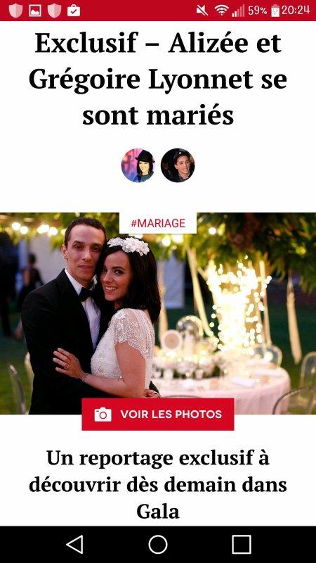Article du mariage dans le magazine Gala