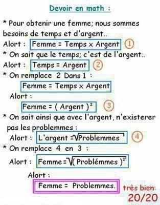 test de math ( femme=probleme )