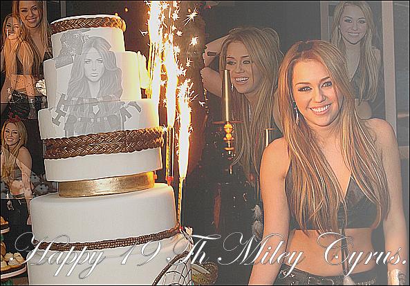 .  Miley Cyrus fête aujourd'hui ses 19 ans ... Quelque chose d'original à lui-souhaiter ?.  Il y a tout juste 19 ans, l'une des plus belles fleur de la terre s'est mise à pousser. Ayant pour nom, Destiny Hope Cyrus, on l'appelle désormais Miley Cyrus. Qui aurait cru qu'une si petite fleur puisse devenir tellement grande, tellement gentille, tellement talentueuse. Nous bien sûr, nous, fans, nous y avons cru, et nous avons bien fait. En 2006, lors de ses débuts dans le monde magique de Disney, nous avons tout de suite cru en son potentiel, en son talent, en sa personnalité. Aujourd'hui, ce 23 novembre, nous lui souhaitons un joyeux anniversaire et nous la remercions pour tous ce qu'elle nous apporte. La joie, la bonne humeur, le sourire, bref toutes les émotions, les ondes positives qu'elle nous transmet. Alors, Merci Miley et encore bon anniversaire» Texte de MileyCyrus.fr crédité. .