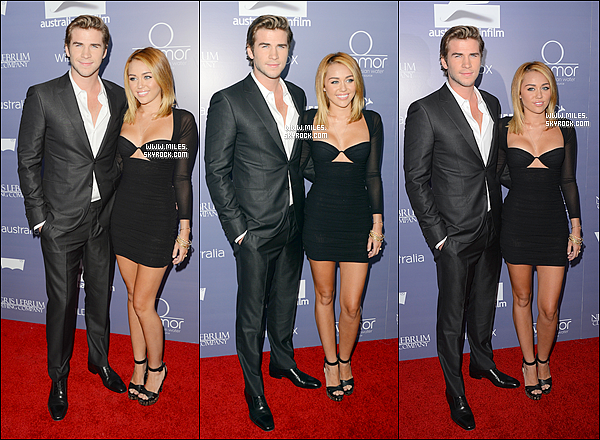 .   27/06/12 : Miley Et Liam était présent  au « Australians In Film Awards And Benefit Dinner » dans Century    Le couple a bien sûr posé pour les photographes sur le tapis rouge.  et à l'intèrieur de la cérémonie. Alors hot or not?!'  .