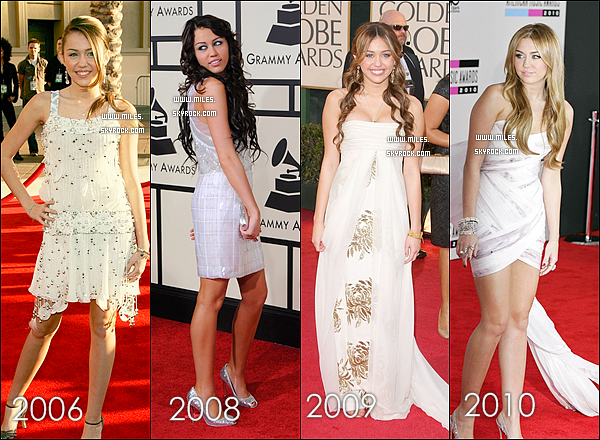 * Miley Porte Toujours des Robes Blanches  mais Laquelle  Préfére - Tu ? Moi J'adore du 2012   *