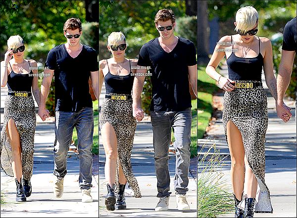19/20/2012 : Mil' et Son Chéri Liam ont été aperçus en train de se balader ensemble dans LA juste avant que Miley ne se rende en studio d'enregistrement. Elle portait un débardeur noir et une jupe léopard. Top Ou Flop ?