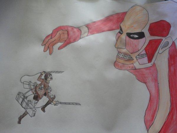 Eren VS Colossal Titan