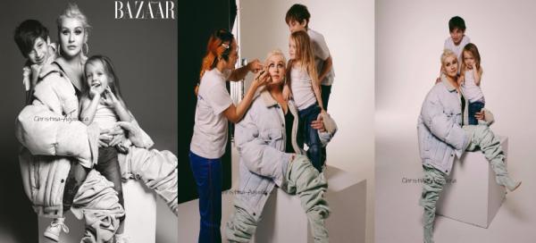 Christina a réalisé un shoot pour Harper's Bazaar avec ses deux enfants !