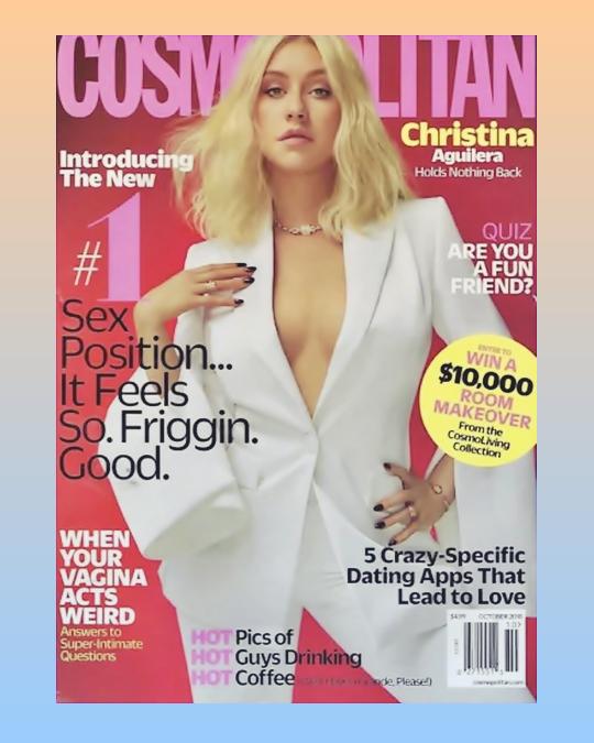 Christina fait la couverture du magazine Cosmopolitain pour le mois d'Octobre.