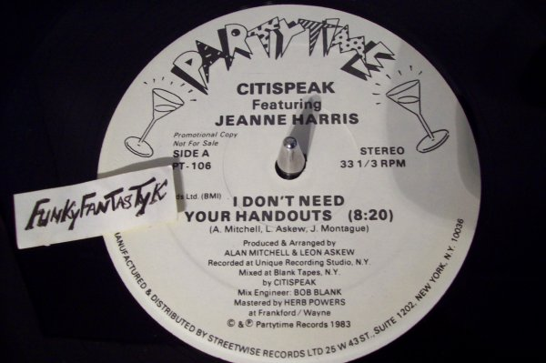 CITISPEAK Feat Jeanne HARRIS - I Don't Need Your Handouts 1983