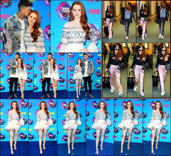 -13/08/2017- ─ Madelaine Petsch était présente à la cérémonie des « Teen Choice Awards », ayant lieu, dans Los Angeles.Toujours accompagnée de son petit-ami, elle a posée sur le tapis rouge. La veille, elle a été vue à l'aéroport de Vancouver avec Ashleigh Murray. Un top !