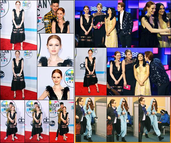 19.11.2017 ─ Madelaine Petsch était présente lors de la cérémonie des « American Music Awards » à Los Angeles.Evidemment, la belle MP était en compagnie de son petit ami, puis du cast à la cérémonie. La veille, elle a été photographiée à l'aéroport de Vancouver.