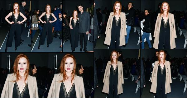 -10/02/2018- ─ Madelaine Petsch était présente au défilé de « Jonathan Simkhai » avec Travis pour la FW à New-York C. !Enfin des nouvelles de notre belle rousse préférée ! Toute vêtue de noir la belle était présente à la Fashion Week. Sa tenue est un beau top pour ma part