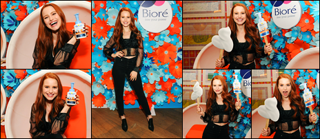 -12/02/2018- ─ Madelaine Petsch était au lancement du produit de la marque « Biore Skincare », étant, dans New York C.C'est pour le lancement du produit « Baking Soda Acne Cleansing Foam » que la belle était présente. Concernant la tenue de celle-ci, c'est un beau top !