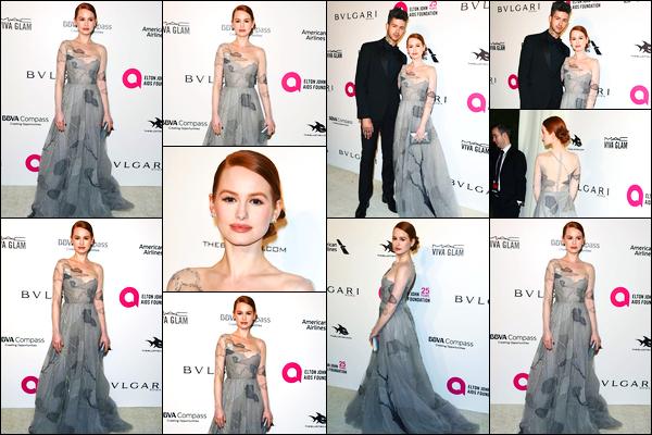 -04/03/2018- ─ Madelaine Petsch était présente à « Elton John AIDS Foundation's Academy Awards » à West Hollywood.C'est toujours en compagnie de son petit-ami Travis Mills que la belle M. était présente ! Concernant la tenue de Madelaine, c'est un beau top pour moi !