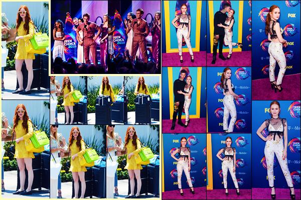 -12/08/2018- ─ Madelaine Petsch a été vue, alors, qu'elle arrivait à la soirée « Instyle Day of Indulgence » à Los Angeles !Plus tard dans la soirée, Mad était présente lors des « Teen Choice Awards » où le cast ont gagné plusieurs awards dont « meilleure série dramatique »...