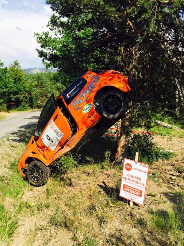 Rallye Gap-Racing 2015 - Crash Maxime Belhomme/Renault Clio R3