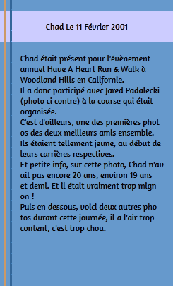 • Apparitions ►  Le 11 Février 2001 - Have A Heart Annual Run And Walk Woodland Hills