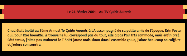 • Apparitions ►  Le 24 Février 2001 - The 3rd Annual TV Guide Awards