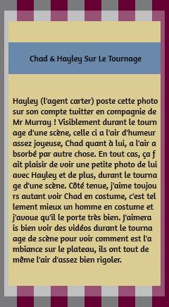 • Tournage ►  Le 09 Janvier 2015 - Sur Le Tournage Avec Hayley Atwell