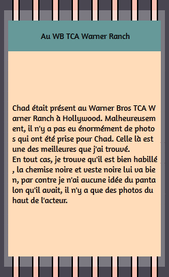 • Apparitions ►  Le 14 Juillet 2001 - Au WBs TCAs Warner Ranch