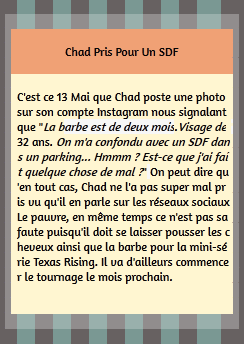 •Instagram ►  Le 13 Mai 2014 - Chad Confondu Avec Un SDF