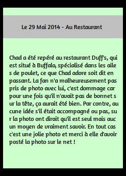 • Photo De Fans ►  Le 29 Mai 2014 - Au Restaurant Duff's A Buffalo