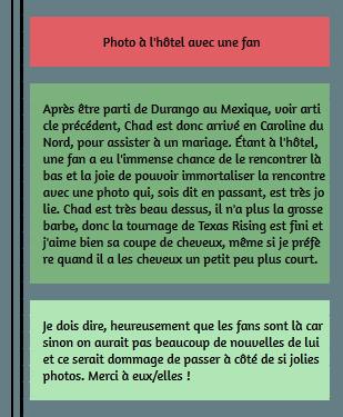 • Photos Avec Les Fans ►  Le 23 Août 2014 - Une Fan Rencontre Chad A L'Hôtel