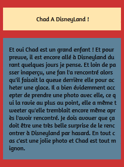 • Photos Avec Les Fans ►  Le 25 Septembre 2014 - Chad Se Trouvait A Disney Land