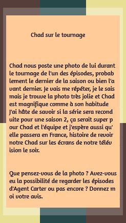 • Twitter ►  Le 13 Janvier 2015 - Durant Le Tournage De La Série