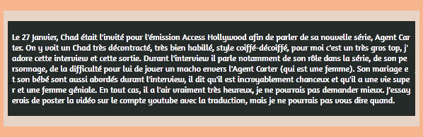 • Apparitions ►  Le 27 Janvier 2015 - Interview Au Acces Hollywood Live