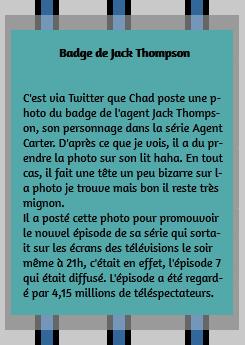 • Twitter ►  Le 10 Février 2015 - Le Badge De L'Agent Jack Thompson