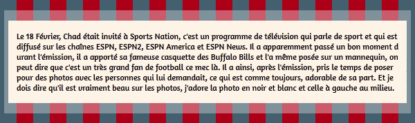 • Apparitions ►  Le 18 Février 2015 - Chad Invité A Sports Nation