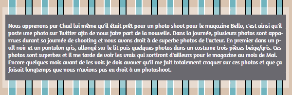 • Twitter ►  Le 11 Mars 2015 - Nouveau Photoshoot Pour Bello Magazine