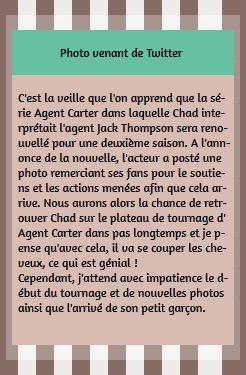 • Twitter ►  Le 08 Mai 2015 - Chad Remercie Ses Fans Pour Agent Carter