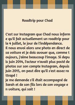 • Instagram ►  Le 03 Juillet 2015 - Chad Fait Un Roadtrip
