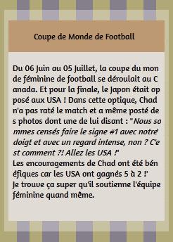 • Instagram ►  Le 05 Juillet 2015 - Pour La Coupe du Monde Féminine