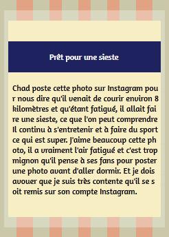 • Instagram ►  Le 02 Août 2015 - Une Petite Sieste Après un Footing  Instagram