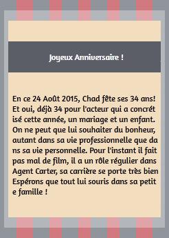• Instagram ►  Le 24 Août 2015 - Chad Remercie Ses Fans Pour Son Anniversaire  Instagram
