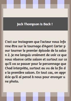 • Apparitions ►  Le 11 Septembre 2015 - Tournage de la Saison 2 d'Agent Carter  Instagram | Tournage