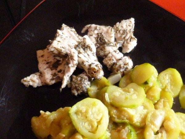 escalopes marinées au citrons au thym et à l'ail