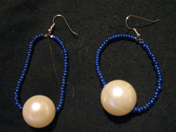 Parrure De Bijoux Marinière Bleu Et Blanche.