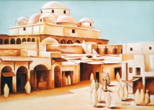 Peinture: MAUSOLEE DE SIDI MAHREZ / TUNIS - EDIFICES RELIGIEUX DE TUNISIE- Base de Mohamed...