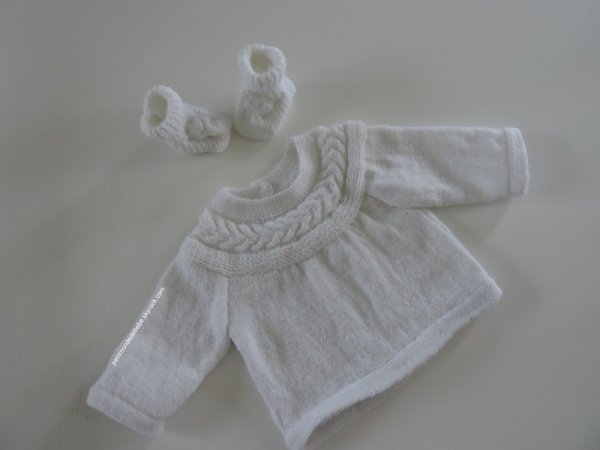 ensemble layette tricoté à la main taille 3 mois
