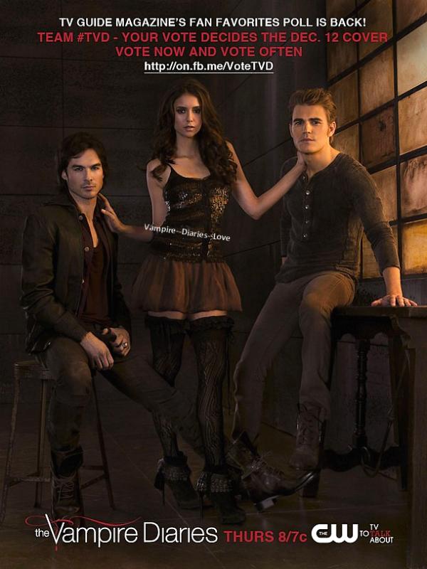 New poster (affiche) promo de la saison 3 de The Vampire Diaries pour le magazine TV Guide