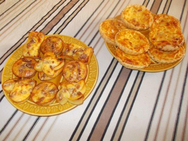 Muffins chèvre miel noix et tartelettes/quiche